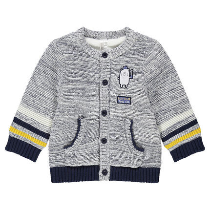 Cable knit jacket with teddy bear patch and contrasting stripes