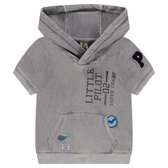 Sleeveless hooded fleece sweatshirt with patches and a printed message