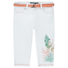 Twill capri pants with a removable belt and an embroidered pink flamingo