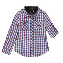 Long-sleeved checkered shirt with 2 pockets