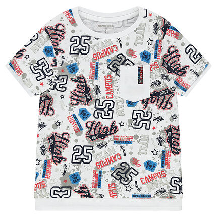 Short-sleeved tee-shirt with an allover print and pocket