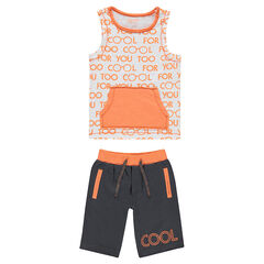 Ensemble with a tank top featuring a kangaroo pocket and printed bermuda shorts