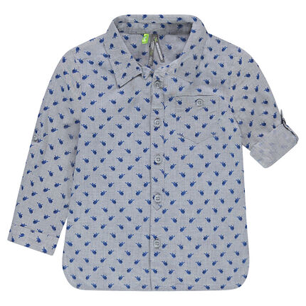 Long-sleeved cotton shirt with allover printed helicopters