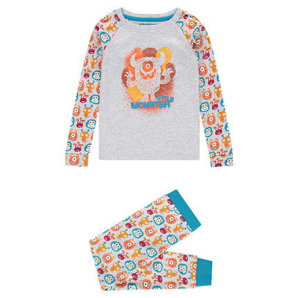 Jersey pajamas with printed monsters