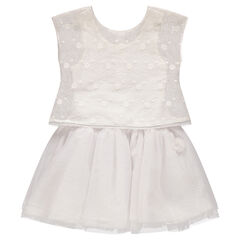 2-in-1 effect dress with tulle and embroidered flowers