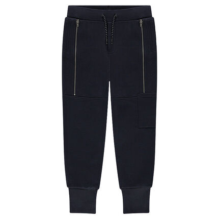 Junior - Fleece sweatpants with decorative zippers and printed messages