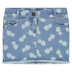 Denim skirt with printed foliage