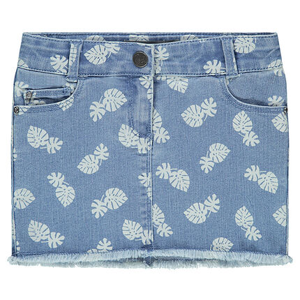 Denim skirt with printed foliage