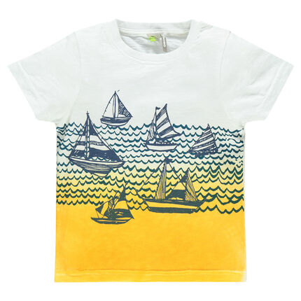 Short-sleeved, tie-and-dye effect tee-shirt with printed boats