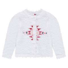 Fur-effect knit cardigan with a geometric motif