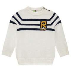 Fancy knit sweater with terry letter