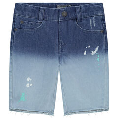 Tie-and-dye effect denim shorts with a paint stain effect