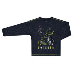 Long-sleeved bobble-effect jersey tee-shirt with printed symbols