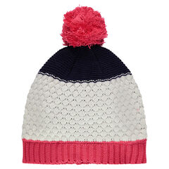 Knit cap with a pink pompom