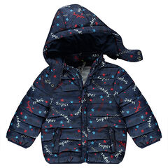 Quilted down jacket with an allover print and removable hood