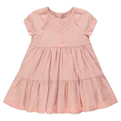 Striped dress in cotton voile fabric with emboidery and pompom