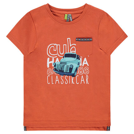 Short-sleeved tee-shirt with printed car and messages