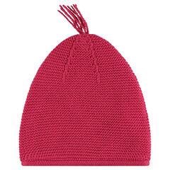 Plain knit beanie with pompom