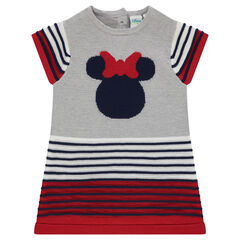 Knit dress with 3D stripes and jacquard Minnie Mouse print