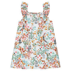 Sleeveless cotton voile dress with an allover flowery print