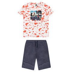 Junior - Ensemble with a tee-shirt featuring a shibori-style print and heathered fleece bermuda shorts