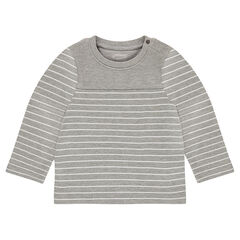 Striped cotton tee-shirt with a snap-fastened opening