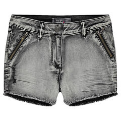 Junior - Stonewashed denim shorts with zipper and fringes