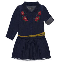 Long-sleeved chambray dress with floral embroidery