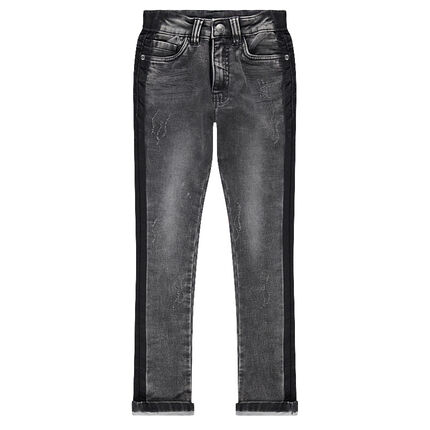 Junior - Used-effect jeans with contrasting bands on the sides