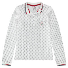 Junior - Long-sleeved polo shirt with anchor print