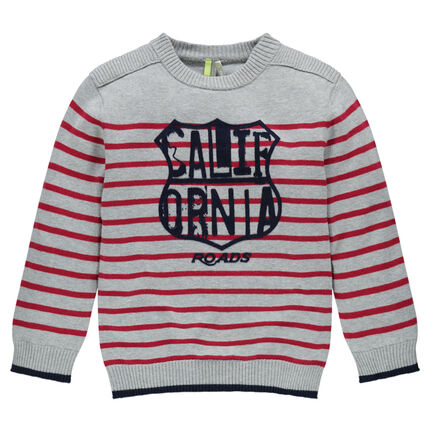 Striped, knit sweater with felt badge print