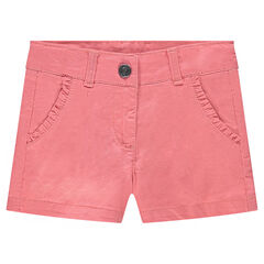 Twill shorts with frills on the pockets