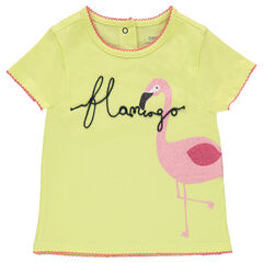 Short-sleeved jersey tee-shirt with a sparkly pink flamingo print