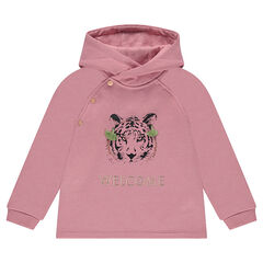 Hooded fleece sweatshirt with a printed tiger and embroidered message