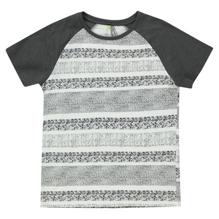 Junior - Short-sleeved jersey tee-shirt with spotted stripes