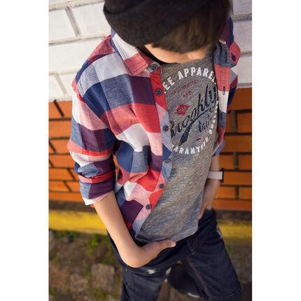 Junior - Long-sleeved checkered shirt with pocket
